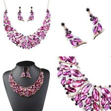 Gold Tone Metal Crystal Statement Jewelry Set Necklace Earring Wedding Prom
