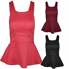 WOMENS STRAPPY PEPLUM FRILL TOP CUT OUT BACK VEST LOOK BODYCON WORK SUMMER TOPS