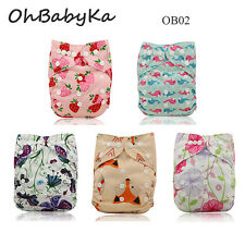 5 Ohbabyka Baby Adjustable Washable Reusable Cloth Diapers Nappies+5 Inserts Lot
