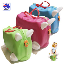 Ride On Suitcase Toy Box Kids Children Travel Luggage 3 Colour Pink Blue HQLU577
