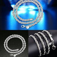 2MM Fashion Jewelry Women Lady Royal Silver Twist Necklace Chain