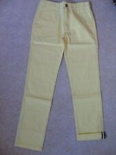"""EX BODEN JOHNNIE B YELLOW COTTON FLAT FRONT SLIM CHINO TROUSERS 28"""" 30"""" W  R L"""