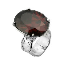 Designed 925 Sterling Silver Ring Shablool Cocktail red Garnet cz Women's Ring