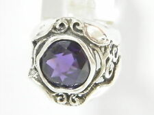 Women SHABLOOL Handmade Sterling Silver 925 Purple Amethyst CZ solitaire Ring