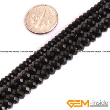 """Natural AAA Grade Black Spinel Gemstone Faceted Rondelle Spacer Beads Strand 15"""""""