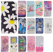 Magnetic flip pu leather case for Samsung Galaxy phones cute patterns flip cover