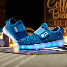 Yeezy LED Magic Light Up RGB Luminous Kids Sneaker Children Sport Shoes Blue