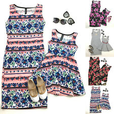 New Summer Mother Daughter Casual Matiching Family Sleeveless Round Neck Dress