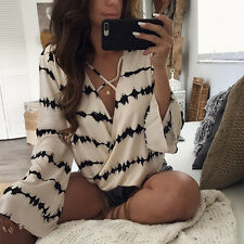 Women  Blouse Stripe Printed Tops  Loose Long Sleeve Casual Bandage Blouse