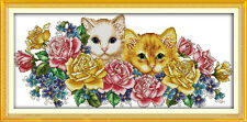 Cats in Flowers Counted Cross Stitch Kits 11CT/14CT Embroidery Decor Needlework