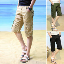 Fashion Mens Stylish Casual Cargo Shorts Pants Cotton Beach Short Pants Trousers