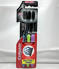 Colgate Slim Soft Charcoal Toothbrush Pack of 3 Toothbrushes - Assorted Colours