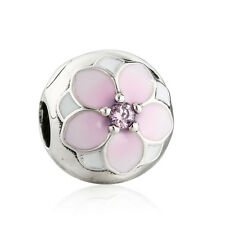 authentic 925 sterling silver charms Bead Flower Clip Charm Beads Enamel Charms
