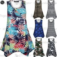 Ladies Sleeveless Flared Vest Ruched Womens Floral Army Print Top Swing Dress