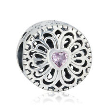 authentic 925 sterling silver Charms Friendship AAA CZ Heart Flower Beads