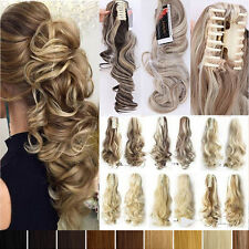 100% Natural Claw on Clip in Ponytail Straight Curly Wavy Hair Extensions Mix A4