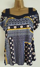 NEW M&Co 14-20 Aztec Print Bardot Off Shoulder Blue White Yellow Top Blouse