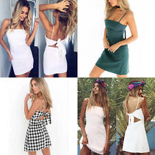 Linen Bow Slim Casual Short Dress Sexy Sundress Hot Summer Women Beach