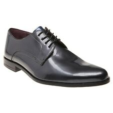 New Mens Ted Baker Grey Aundre Patent Leather Shoes Lace Up
