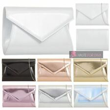 NEW WOMENS PATENT LEATHER 3D ENVELOPE CHAIN STRAP BRIDAL PARTY CLUTCH BAG PURSE