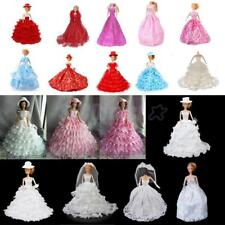 Red/Blue/Pink Bridal Wedding Gown Lace Polka Dots Dress with Hat for Barbie Doll