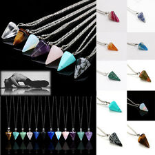Natural Crystal Pendant Chain Six Prism Cone Pendulum Plane Quartz Necklace