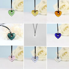Love Heart Glass Pendant Necklace Perfume Essential Oil Diffuser Chain Beads