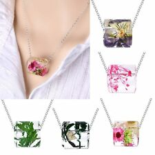 Charm Resin Real Dried Flower Leaf Pendant Necklace Chain Womens Lady Jewellery