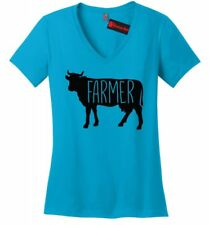 Farmer Cow Ladies V-Neck T Shirt Cow Lover Rancher Country Soft Graphic Tee Z5