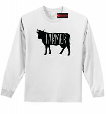 Farmer Cow Long Sleeve T Shirt Cow Lover Country Rancher Graphic Tee Shirt Z1