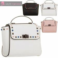 NEW WOMENS FASHION STUDS TOP HANDLE FAUX LEATHER WINGED BAG HANDBAG