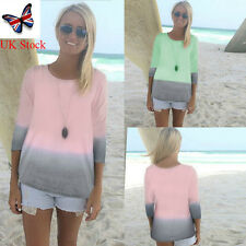 Womens Plus Size Casual 3/4 Sleeve Crew Neck T-Shirt Color Block Tops Blouse