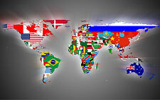 Flag World Map. Art Print/Poster (d401)