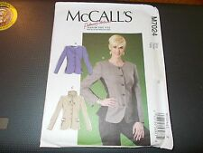 McCalls Pattern M7024 Ms PALMER/PLETSCH Lined Button Front Jackets w/Variations