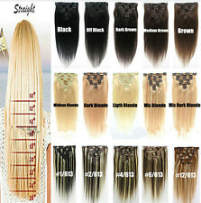 "Hot 7pcs 15"" 18"" 20"" 22"" Clip In Remy Real 100% Human Hair Extensions Full Head"