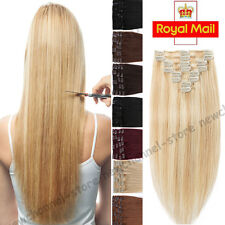 Silky Full Head Clip in Remy Human Hair Extensions 100% Real long Highlight C607