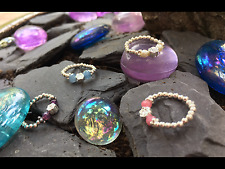 Sterling silver 925 stretch bead toe ring silver rose purple pink blue pearl new