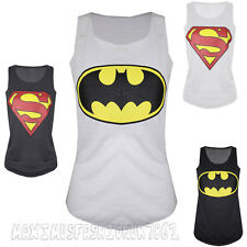 Womens New Sleeveless Round Neck Muscle Racer Back Superman Batman T Shirt Vest