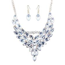 Bride Leaves Rhinestone Alloy Necklace Earrings Jewelry Wedding Set Ornament