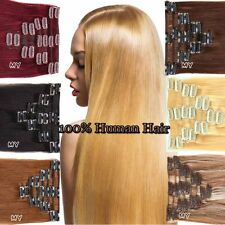 Smooth Clip In Hair Extensions Remy Real 100% Human Hair Full Head Set 8pcs II02