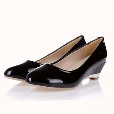 US Size  5-15 Womens Leather Pointed Toe Platform Low Wedge Heels Shoes Black