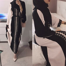 Dubia Lace Trim Black Abaya Jilbab Muslim Islamic Maxi Dress Cardigan Robe S-2XL