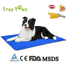 Free Paws Pet Cooling Pad Gel Mat Cooler For Dog Crate Bed Kennel S M L, Blue