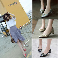 Women Low Heels Flats Pointy Pearls PU Leather Ballet Pumps Shoes Size New