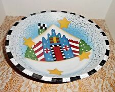 "Decorative Painted Solid Wood Bowl, 12"" Diameter, Gingerbread House"