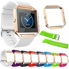 Silicone Fitness Wrist Strap+Stainless Steel Metal Frame For Fitbit Blaze Watch