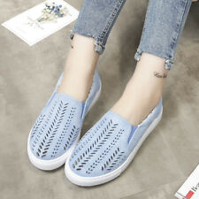 Women Hollow Out Loafers Canvas Shoes Casual Flats Slip On Thick Lazy Shoes