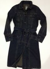 GAP Denim Jacket Belted Trench Coat Longer Length Women's XS VTG Fall 2003