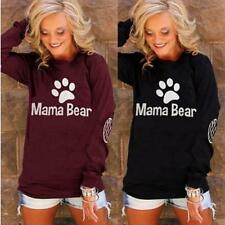 Women's Long Sleeves Pullover Blouse Mama Bear Print Crewneck Tee T-Shirt Top JJ