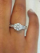 1.5 Ct Diamond .925 Sterling Silver Round Cut Solitaire Engagement Wedding Ring